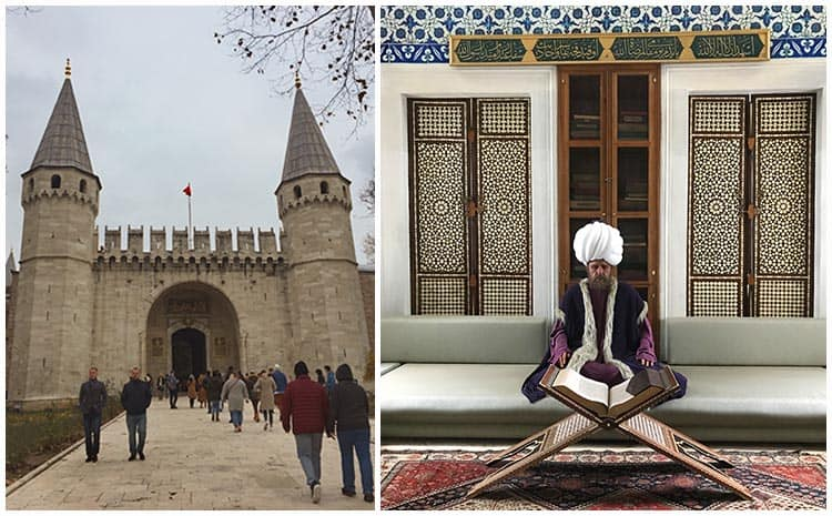 Collage of the Topkapi, one photo of the entrance and the other of a was sulatan reading Koran