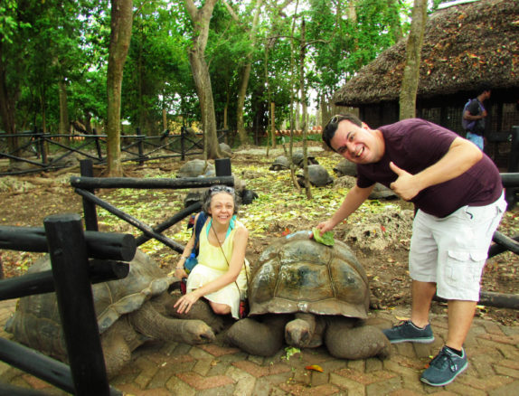 Alex and Bell with the giant tortoise on Prison Island, just off the coast of Zanzibar