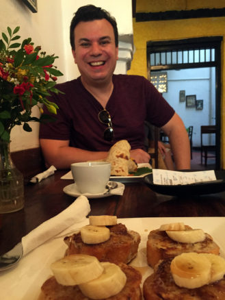 Alex and french toast sitting in Zanzibar coffee house