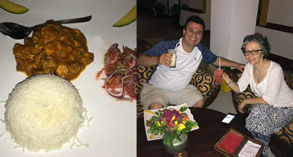 Collage of octopus curry and Alex and Bell