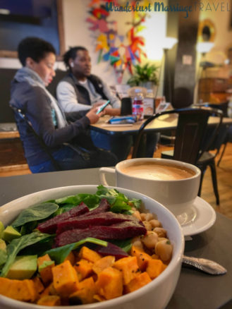 Rice bowl and coffee at Urban Hang Suite in Richmond