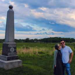 Alex and Bell at dusk on the Gettysburg battlefield