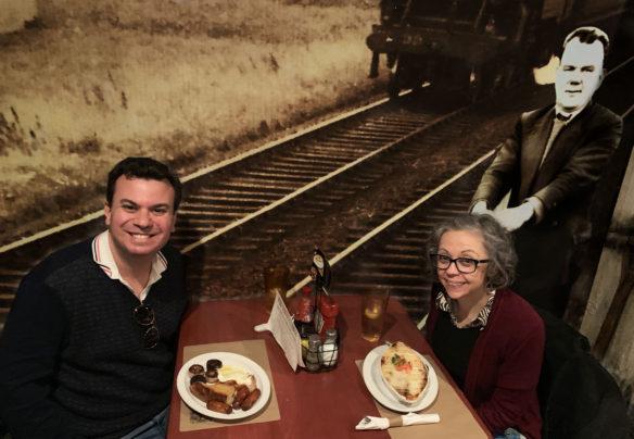 Alex & Bell with their Irish dinners at Garryowen pub