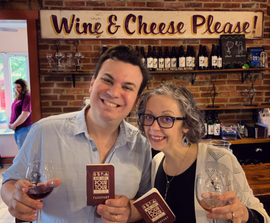 Alex & Bell with wines on the Pour Tour in Gettysburg