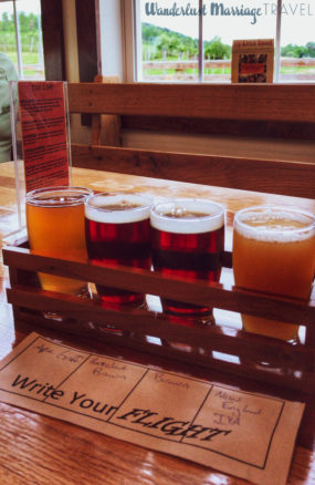 Beer flight at the Thirsty Farmer Brewery