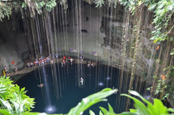 Pool in a cave called a cenote in Mexico