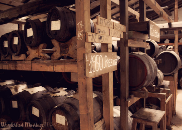 Balsamic vinegar barrels in storage