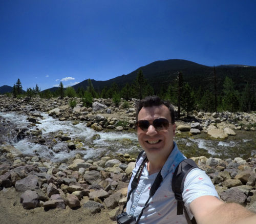 Alex selfie in front of river in the rocky mountain park