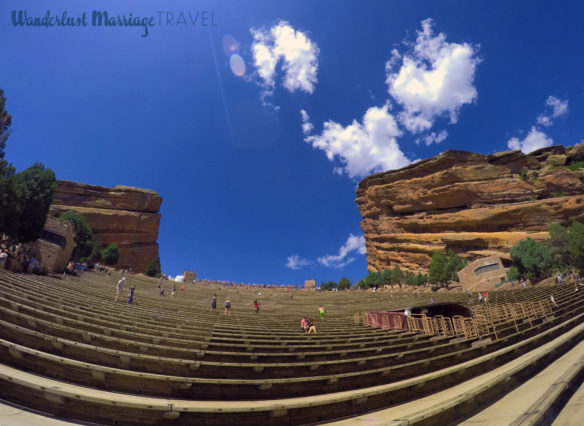 Red Rocks Amphitheater with the rows of seats and red rocks