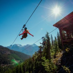 Zipping person in Whistler with the sunshining down on them