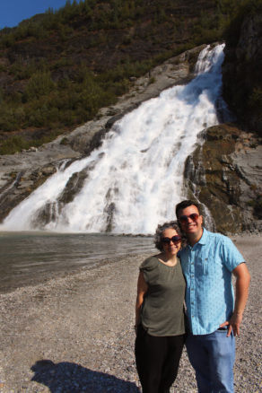 Alex and Bell at Nugget Falls, a large waterfall