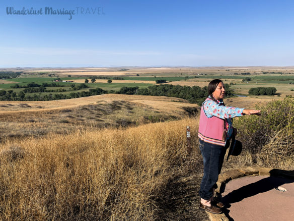 Tour guide and the flat lands of Little Bighorn Battlefield