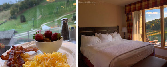 Breakfast overlooking the slopes on the left and to the right the king bed with a view of the slopes at 7 Springs