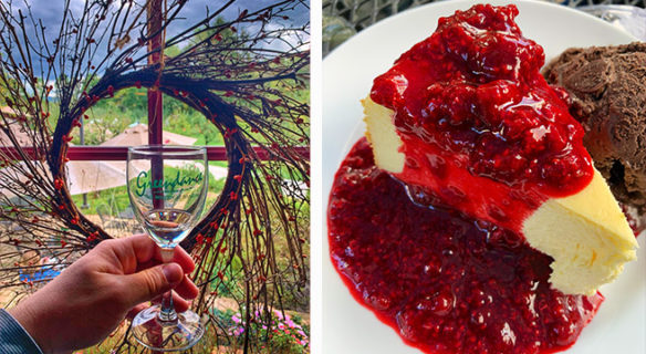 Collage left glass of wine with garden in the background and right cheesecake with berry sauce and chocolate ice cream