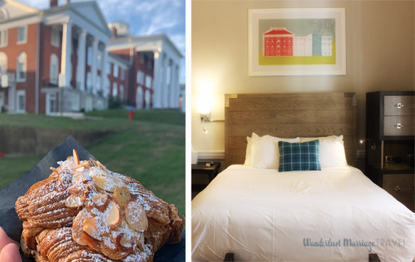 Collage of bed at Blackburn Inn and the breakfast pastries