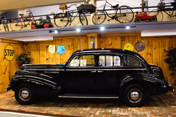 Vintage black car on display
