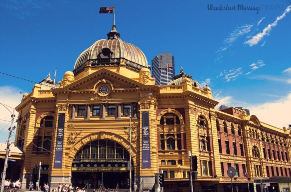 Flinders Street station in Melbourne with blue slies