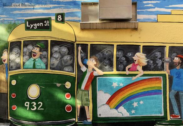 Street art of tram