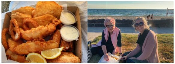 Bell and her mum with fish and chips at the beach
