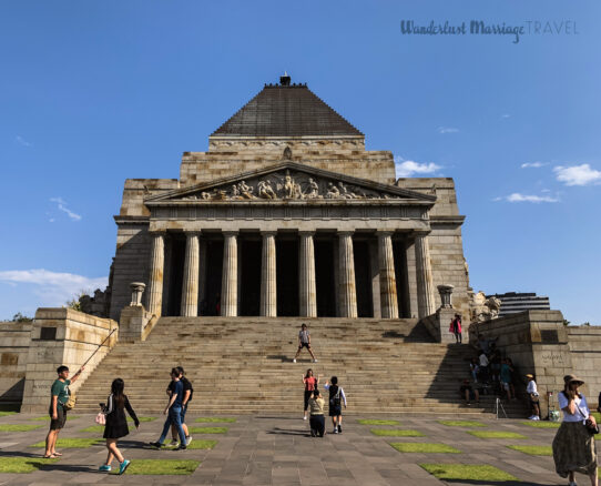 Front of the Shrine of Remembrance with blue skies