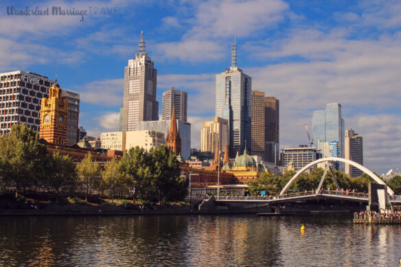 Melbourne Skyline along the Yara river