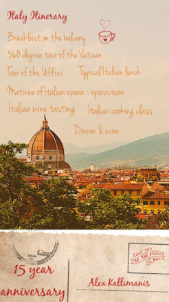 Italian itinerary with Florence in the background