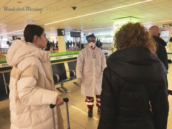 Temperature screening for COVID-19 at the airport in Italy