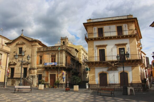 quiet streets of Militello, Sicily during afternoon siesta