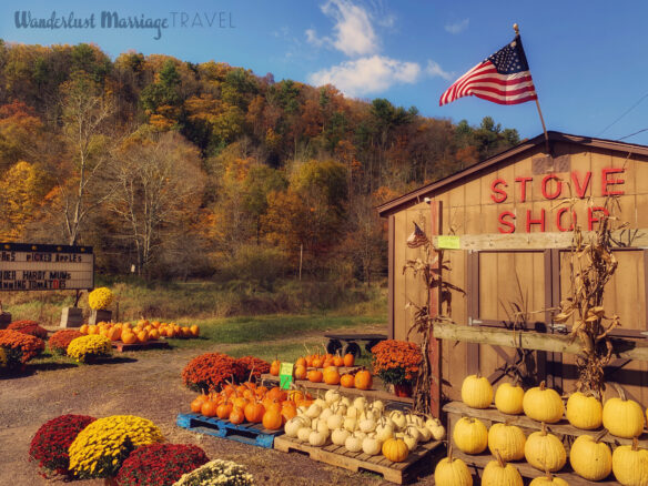 Side of the road produce shop selling pumpkins