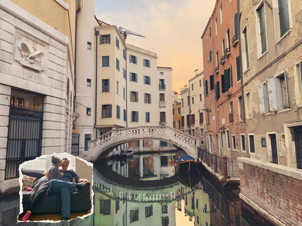 Venice canals with Alex and Bell on the couch superimposed