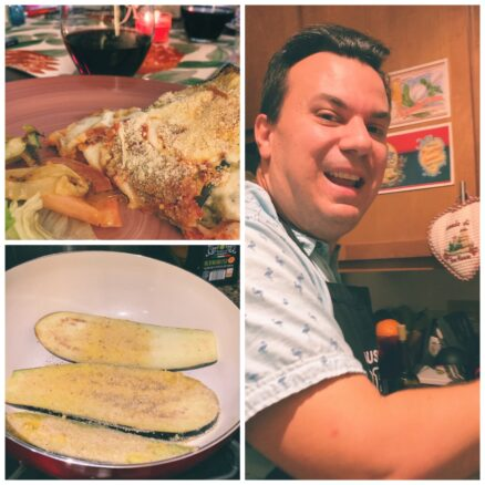 Collage of cooking eggplant Parmesan