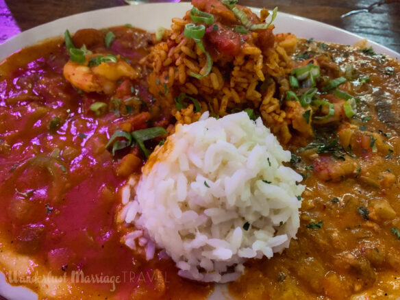 Plate with Crawfish Étouffée and rice
