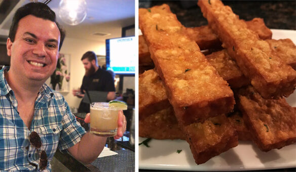 2 photos; one of Alex at the bar with a cocktail and the other of the stacked chickpea fries