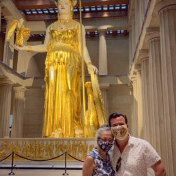 Alex and Bell in front of the Athena statue inside the Nashville Parthenon