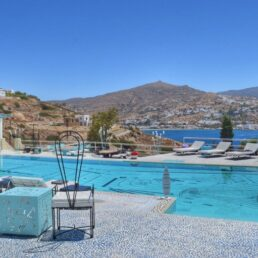 wonderful poolside view at Agalia Luxury Suites overlooking the Aegean Sea and mountains in Ios