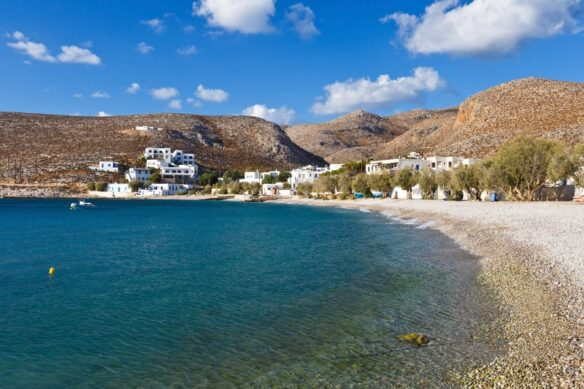 view of the sea, beach and mountains in Folegandros, Greece in the Greek Cyclades island chain