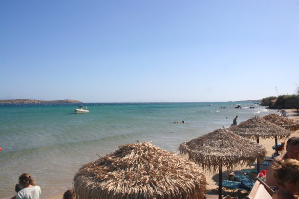 straw thatched roof umbrellas along the beach in Paros, Greece