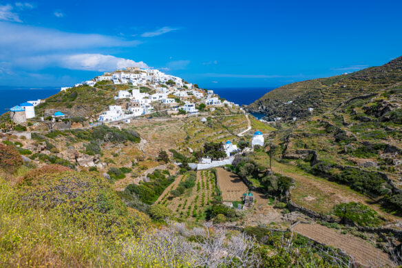 view of the mountains and town on the Greek island of Sifnos in the Cyclades