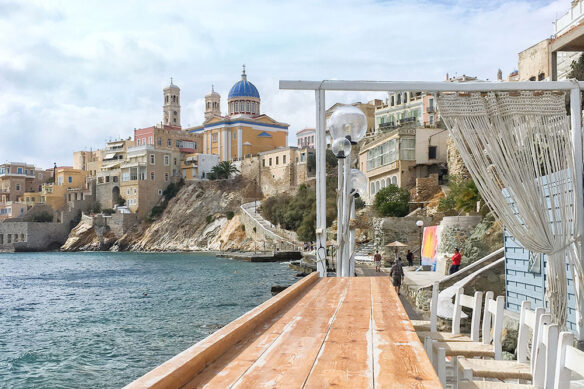 View from the deck at Asteria Bar in Ermoupouli, Syros