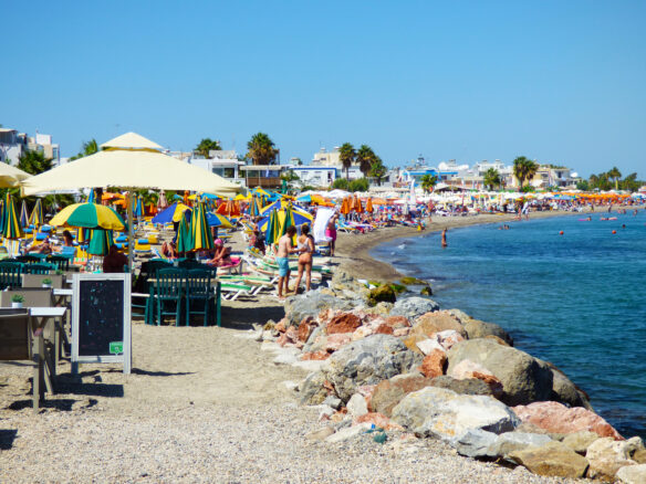 rocky beach in Kos Greece, in the Dodecanese Greek island chain