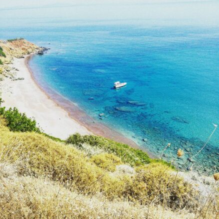 overlooking the sea and Kythira Beach on the Greek island of Kythira