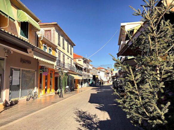 a street in Lefkada town on the Ionian island in Greece