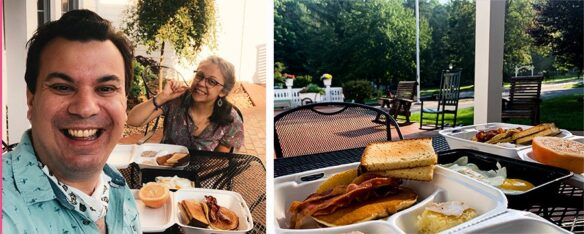 2 photo collage; 1st photo, Bell & Alex selfie with pancake, bacon, eggs and toast breakfast, 2nd image close up of bacon, pancakes and garden view