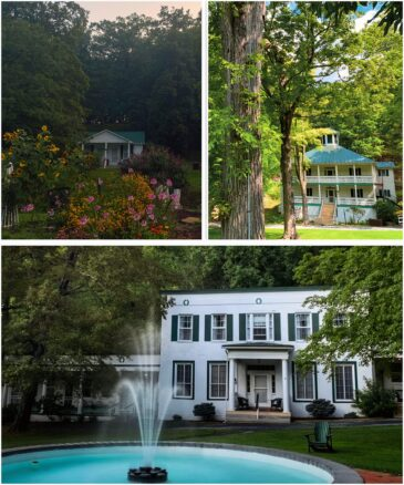 3 photo collage 1st, a small cottage nestled behind a flower garden, 2nd image a larger house nestled in the woods, 3rd image a large house with a water fountain out front.