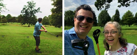 2 photo collage; 1st image, Alex with the fling golf stick preparing to fling the golf ball down the golf green; 2nd image, Alex & Bell selfie holding their fling golf sticks