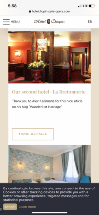 Hotel Chopin in Paris, France thanks Alex Kallimanis for his article on sister Hotel de la Brettonerie in Paris Marais