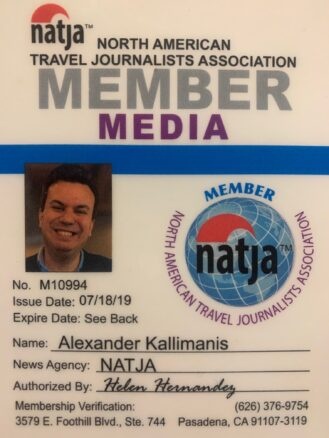 Alex Kallimanis's North American Travel Journalist Association Badge (NATJA)