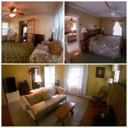 three photo collage: image 1 sunroom with a desk and floral couch, image 2 king size bed with floral bedspread, and image 3, living room with couch, rocking chair, fireplace and door to balcony