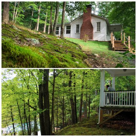 two photo collage, top image of the white wooded cabin with a chimney, 2nd image of the balcony overlooking the pool with alex looking out