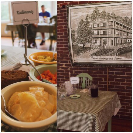 2 photo collage, image 1 is of scalloped potatoes, meat loaf and carrots; image 2 is of a table with a green and white table cloth and a green and white tapestry hanging on the wall of Capon Spring main house